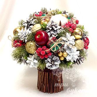 Букет новогодний из шишек и хлопка